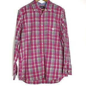 Chaps plaid button down shirt pink F9